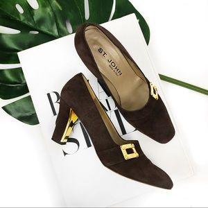 St. John brown suede heels
